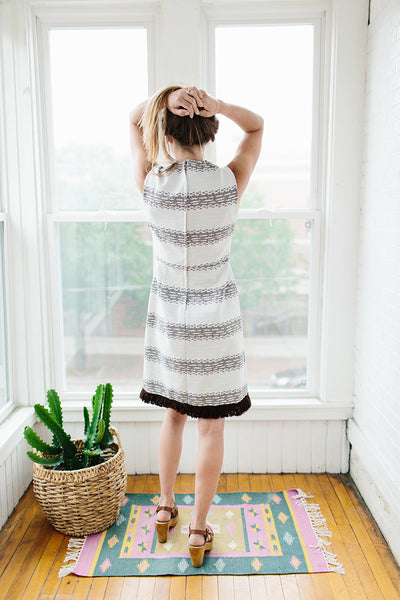 brown fringe dress.