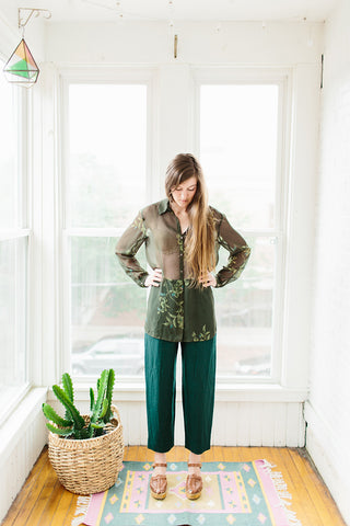 green wool pants.