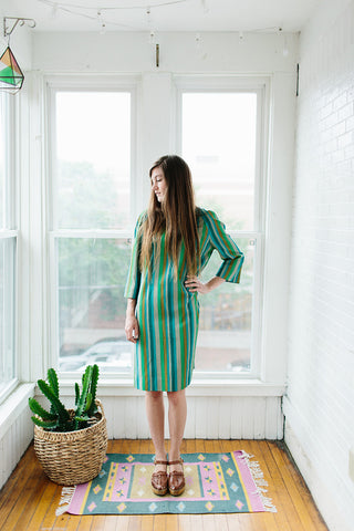 green striped dress.