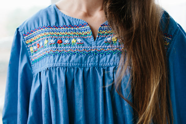 blue embroidered mumu.
