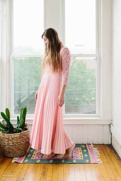 lace + pleated pink dress.