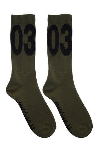 "032c WWB ""MAX"" Socks Washed Hunters Green/Black"
