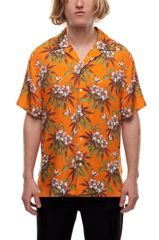 SSS World Corp Magnum Hawaiian Shirt Weed Hibiscus Orange