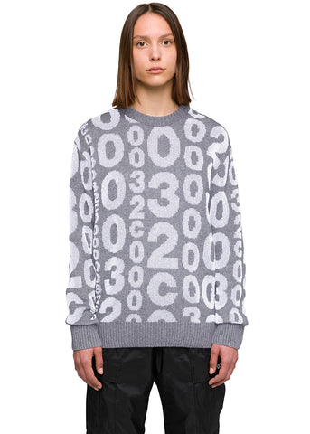 "032c Système de la Mode ""Matrix"" Knit Pullover Reflective Grey"