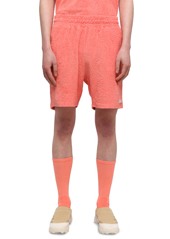 "032c Système de la Mode ""Topos"" Shaved Terry Shorts Coral"