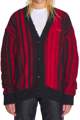 "032c Die Tödliche Doris ""Pixel"" Cardigan Red and Black"