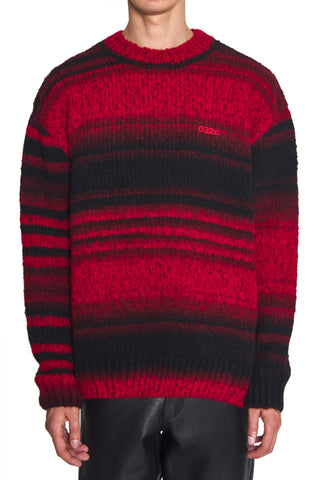 "032c Die Tödliche Doris ""Pixel"" Pullover Red and Black"