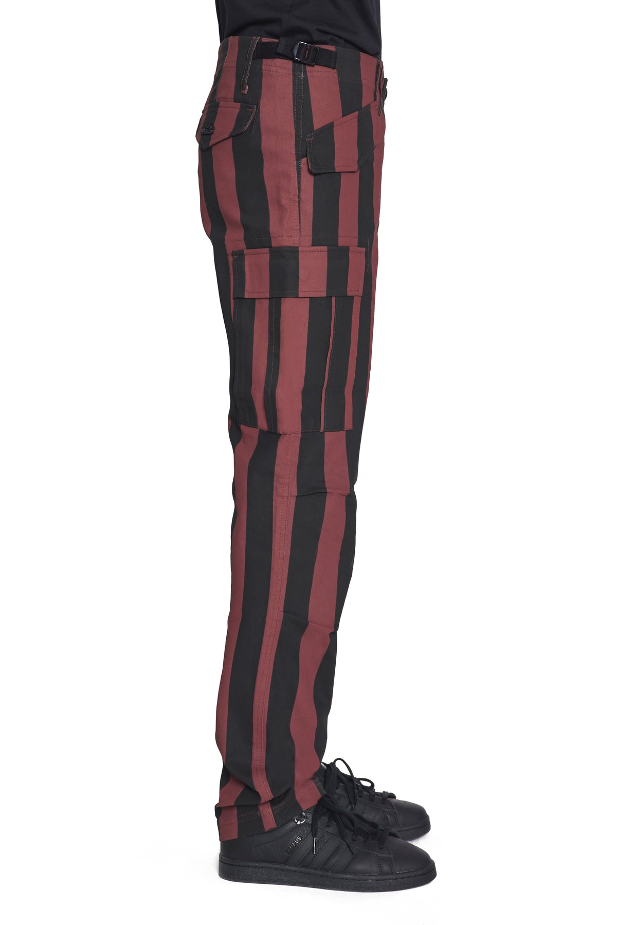 "032c Die Tödliche Doris ""Versatile"" Pants Burgundy and Black Stripe"