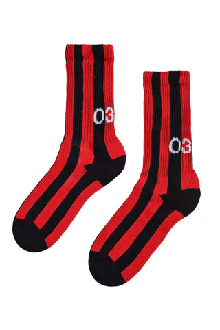 032c Die Tödliche Doris Socks Red and Black Stripe