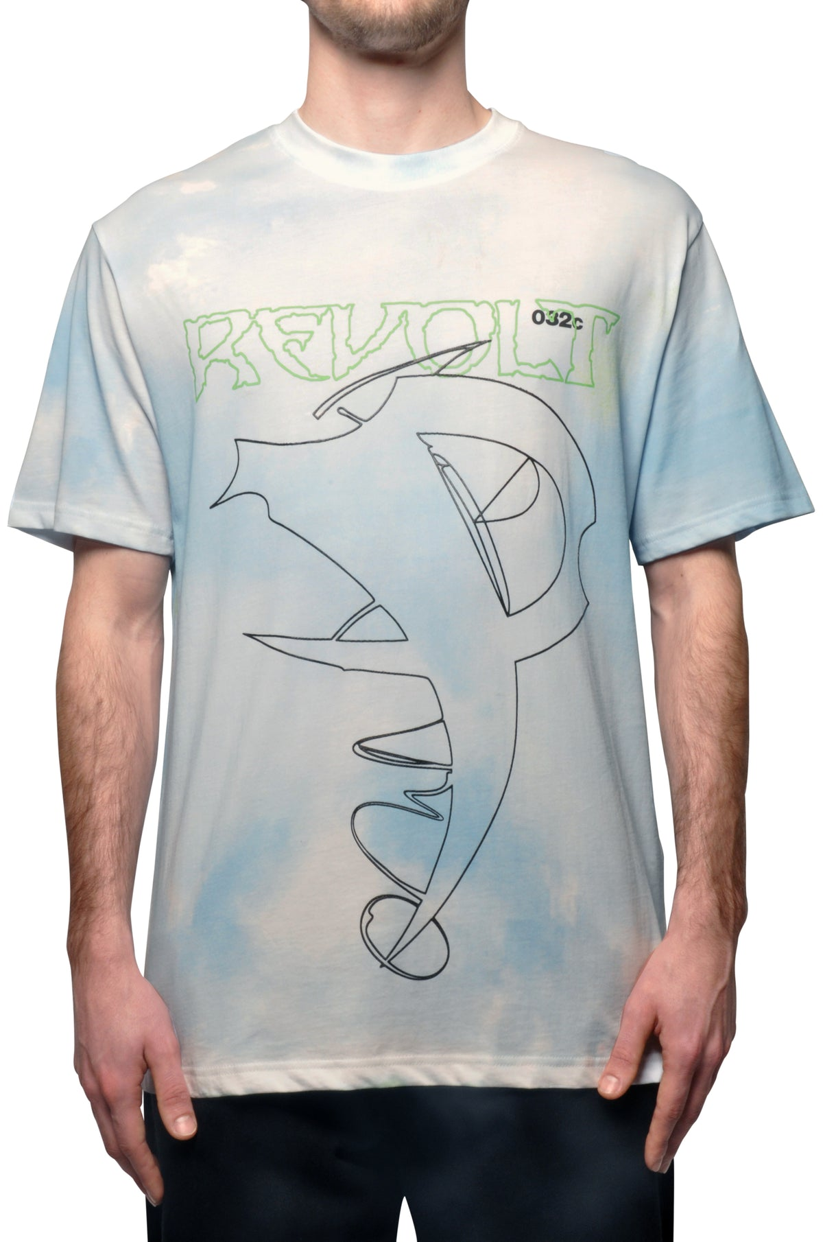032c COSMIC WORKSHOP 'Revolt' T-Shirt Powder Blue - 032c