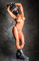 FEMALE MUSCLE NUDE WITH HELMET