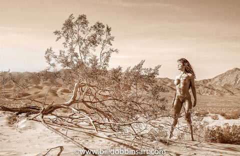 DESERT NUDE WITH BUSHES PRINT - Nude with sand dunes and desiccated desert bushes