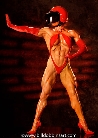 DIANA DENNIS RED HELMET PRINT - This fit and fabulous female bodybuilder wearing a red motorcycle helmet and gloves.