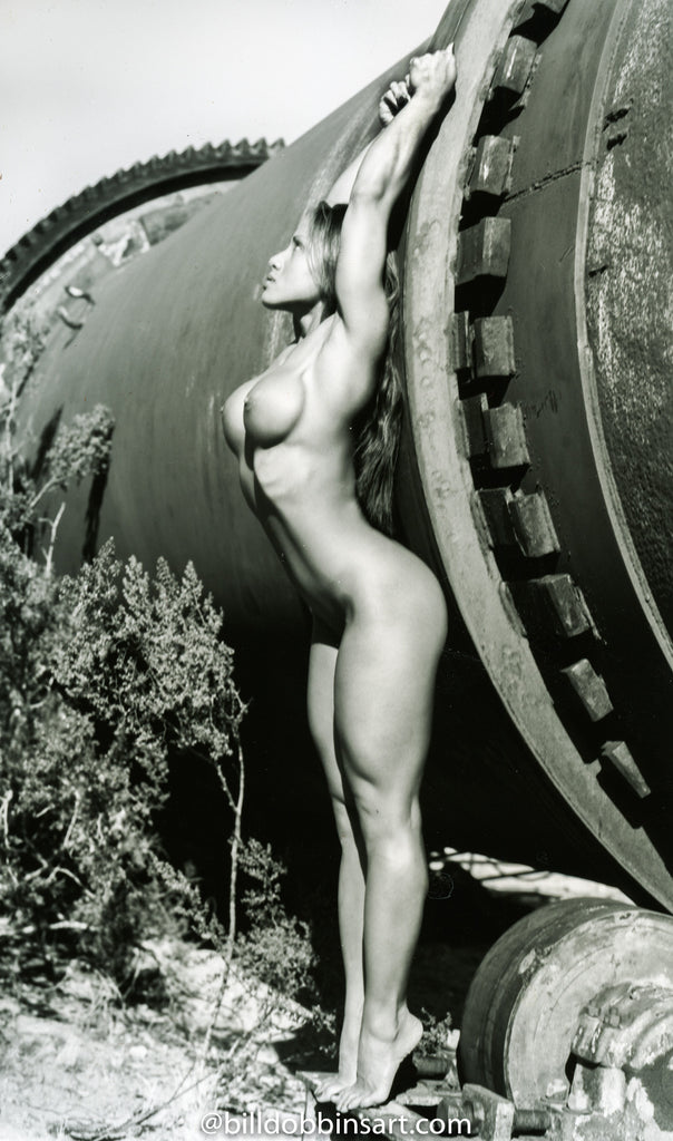 DINA DELA LLANA BW DOWNLOAD - Nude with industrial pipe.