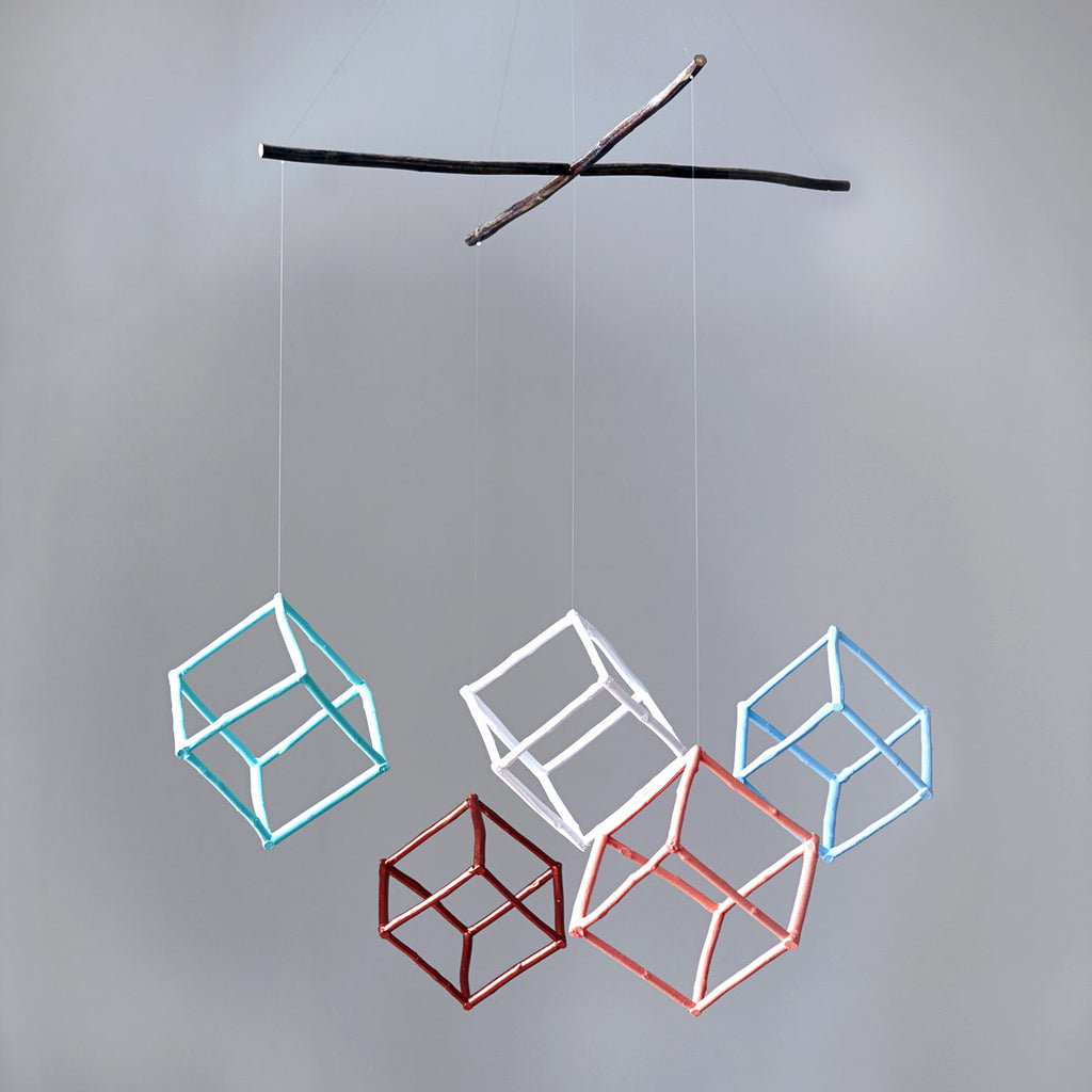 Hanging Mobiles - With Cubes (5) - Twiggargerie - Greenhouse Interiors - 1