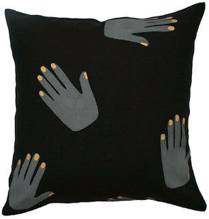 HANDS OFF linen cushion - black