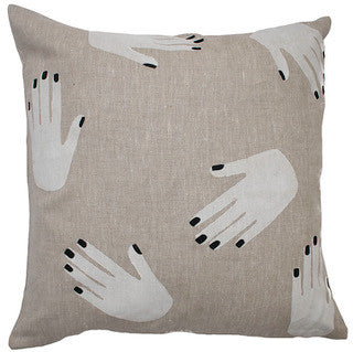 HANDS OFF linen cushion - oatmeal