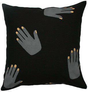 HANDS OFF linen cushion (with insert) - black