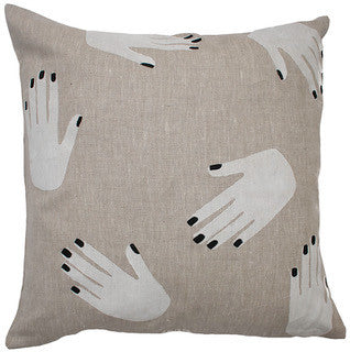 HANDS OFF linen cushion (with insert) - oatmeal