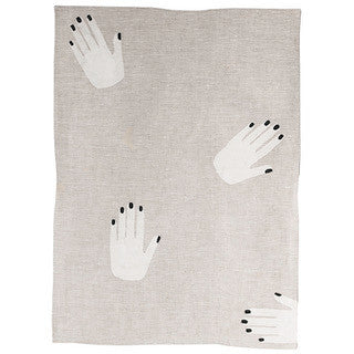 HAND OFF linen tea towel - oatmeal