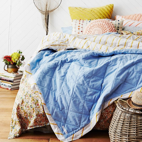 Rory Chambray Stripe Bedcover