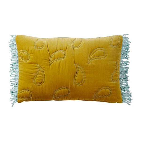 Juliet Paisley Quilted Cushion - Mustard