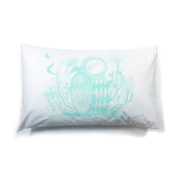 Owl Pillowcase In Mint - Madeleine Stamer - Greenhouse Interiors - 1