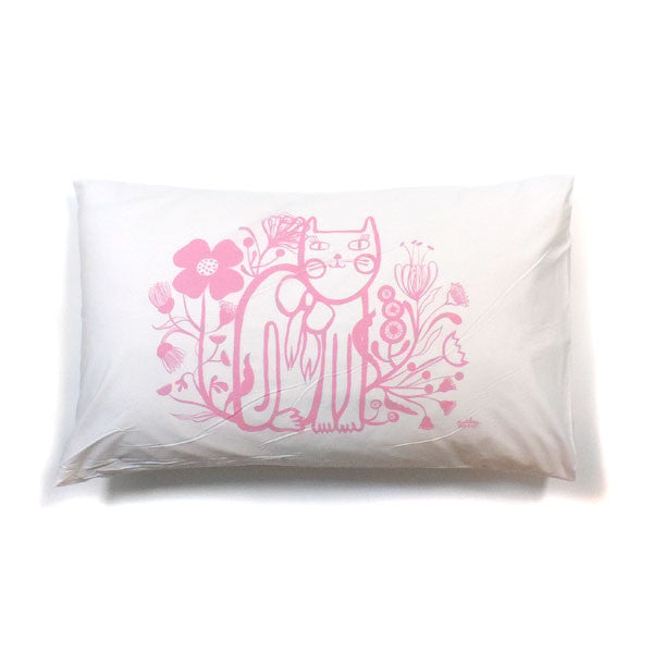 Pussycat Pillowcase In Pink - Madeleine Stamer - Greenhouse Interiors - 1