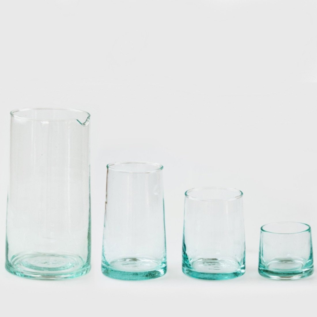 Handblown Recycled Glassware