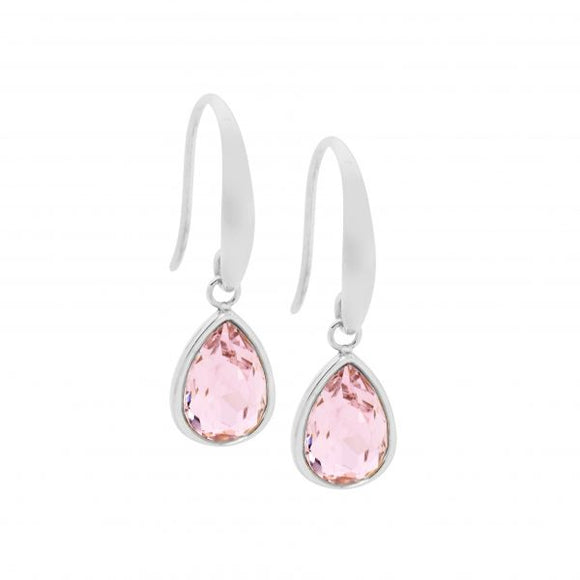 Ellani Steel Pink Glass Drop Earrings