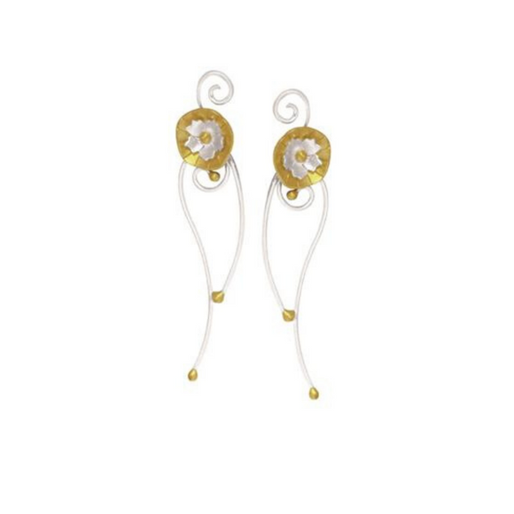 Sterling Silver & Gold Floral Long Stud Earrings