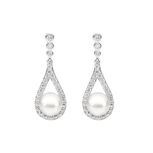 Ellani Sterling Silver CZ and Pearl Drop Earrings