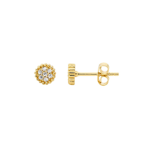 Ellani CZ Gold Plated Cluster Earrings