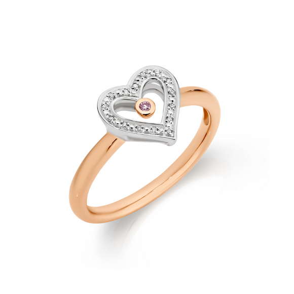 Pink Caviar Diamond Heart Ring
