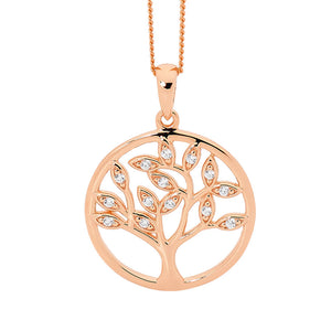 Ellani Rose Gold Plated CZ Tree Of Life Pendant