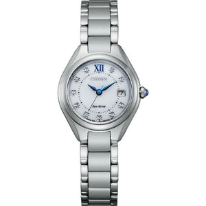 Citizen Eco-Drive Stainless Steel Watch with Blue Accents