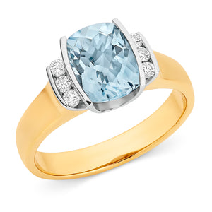9ct Gold Aquamarine and Diamond Ring