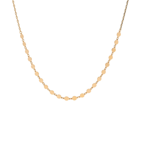 Ellani Gold Steel Flat Disk Necklace