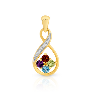 9ct Yellow Gold Multi Coloured Gem Pendant