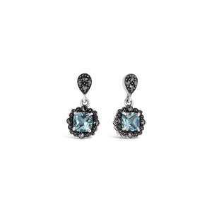 Esse Blue Topaz & Marcasite Drop Earrings