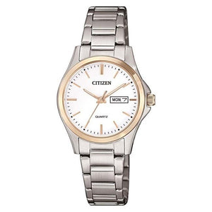 Citizen Ladies Stainless Steel With  Rose Accents