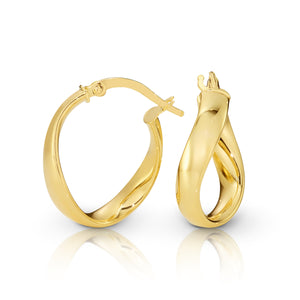 9ct Gold Wavy Ribbon Hoop Earrings