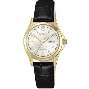 Citizen Ladies Gold With Black Leather Strap