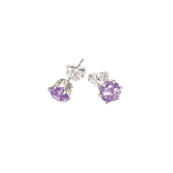 Sterling Silver Purple CZ Stud Earrings