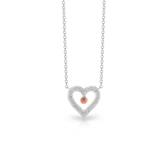 9ct White & Rose Gold Pink Caviar Diamond Heart Necklace