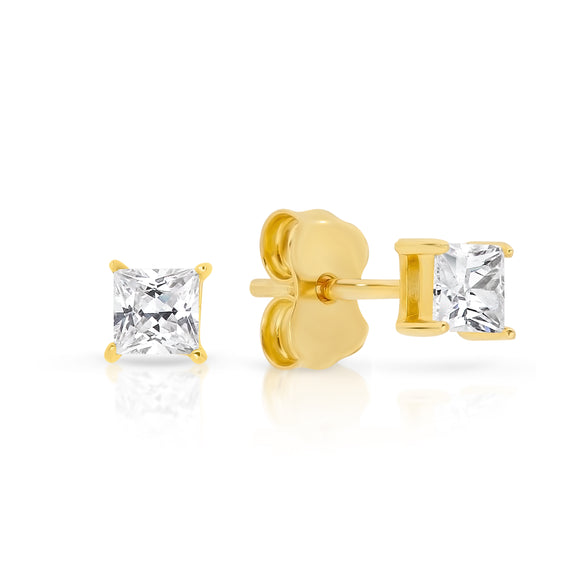 3mm Square CZ Gold Stud Earrings