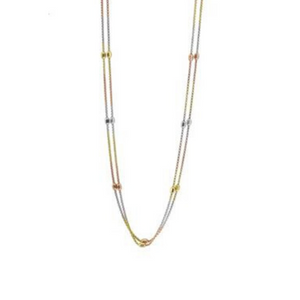 Sterling Silver Tri-tone Double Strand Necklace