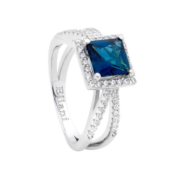 Ellani Blue & Clear CZ Ring