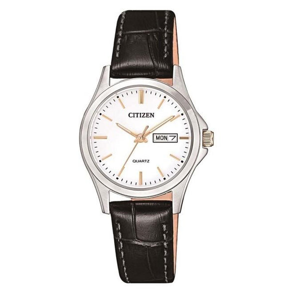Citizen Ladies Stainless Steel With Black Leather