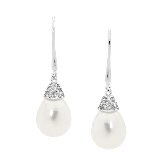 Ellani Sterling Silver and Pearl Drop Earrings